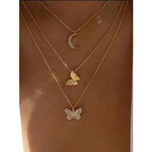 Butterfly Charm Gold Layered Necklace